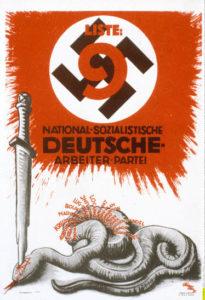 Anni '30. Manifesto elettorale antisemitico del partito nazionalsocialista.